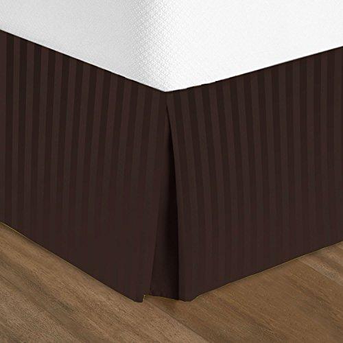 "(Nestl Bedding Pleated Bed Skirt - Damask Dobby Stripe Bed Skirt - Luxury Microfiber Dust Ruffle - 14"" Tailored Drop - Bonus Bed Skirt Pins Set of 8 Included - Full, Brown)"