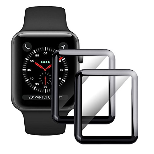 Moresky Compatible For Apple Watch Screen Protector 42mm (Not for 38mm) Tempered Glass Compatible iWatch Series 3/2/1, [3D Curved Edge] [Full Coverage] [Anti-Scratch] [High Definition] (2 Pack, Black) by Moresky