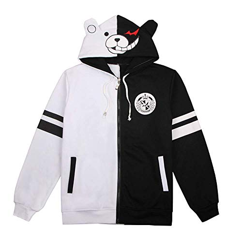 STELU Danganronpa Monokuma Warm Thick Hoodie Jacket Jacket Black and White Bear Cosplay Costume
