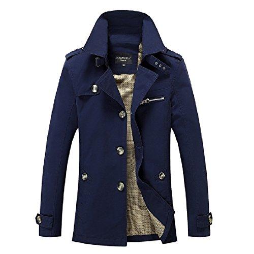 RkBaoye Men Plus-Size Single-breasted Lapel Cardi Windbreaker Jacket Coat Dark Blue