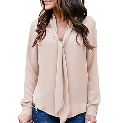 Womens Solid Long Sleeve V-Neck Fancy Tie Chiffon Office Shirt Elegant Tops Khaki