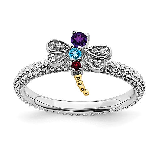 (925 Sterling Silver 14k Gemstone Diamond Dragonfly Band Ring Size 6.00 Stackable Birthstone January Garnet February Amethyst December Blue Topaz Multiple Fine Jewelry Gifts For Women For Her)