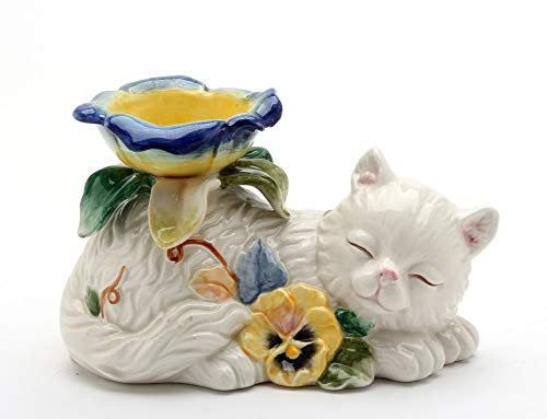 Cosmos Gifts Fine Ceramic Pansy Cat with Pansy Flowers Design Tea Light Candle Holder, 5