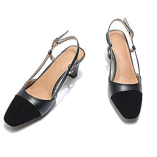3aeea5f4cbb YOGLY Zapatos de Tacón Alto Sandalias de Tacón Ancho de Cuero Mujer Zapatos  Puntiagudas Punta