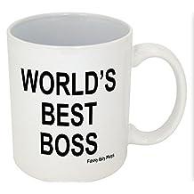 Funny Guy Mugs World's Best Boss - Finger On Bottom Mug, 11-Ounce, White