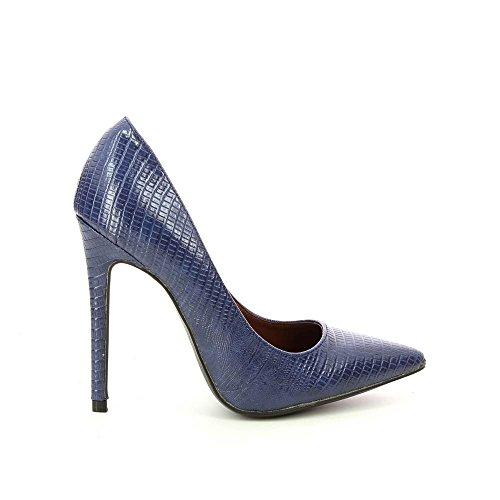 Sandalias stiletto punta con orificio, diseño de piel de serpiente Azul