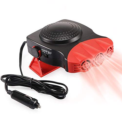 Portable Car Heater, Auto Electronic Heater Fan Fast Heating Defrost 12V 150W Car Heater, Plug Adjustable Thermostat in Cigarette Lighter, 2 in 1 Heating/Cooling Function 3-Outlet Car Heater (Red)