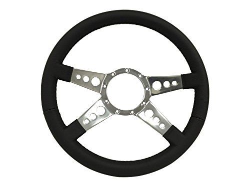 Volante S9 Series Steering Wheel wrapped in Premium Black leather with a 9 Bolt Pattern (Steering Wheel Leather Wrapped)