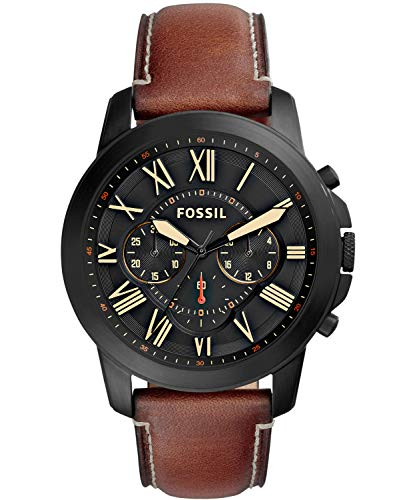 (Fossil Men's Grant Quartz Stainless Steel and Leather Chronograph Watch, Color: Black, Brown (Model: FS5241))