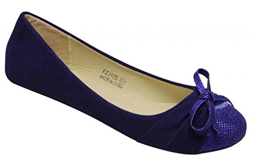 voda-espirit-women-ballerina-boat-pleated-glitter-bow-knot-toe-box-suede-flats