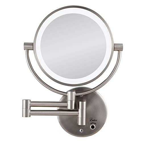 Zadro Satin Nickel Cordless Led Lighted Wall Mount Mirror, 5X / 1X -