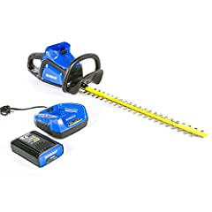 Provides up to 25% longer runtime than original Kobalt 40-volt hedge trimmer 24-in dual-action blades at 3,000 SPM provides you the cutting power to tackle the toughest job 3/4-in cut capacity gets through most shrubs and hedges 2.5 Ah li-ion...