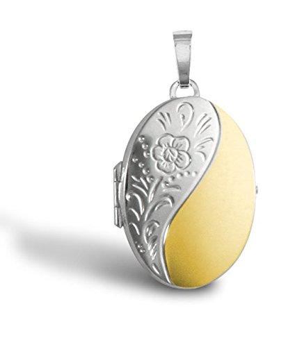 Médaillon ovale gravé en or 9ct Jaune et Blanc Pendentif