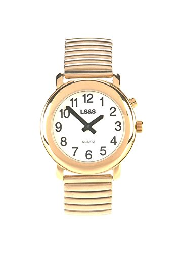 Talking Watch 1-Button White Face Gold Exp. Band (Ladies Watch)