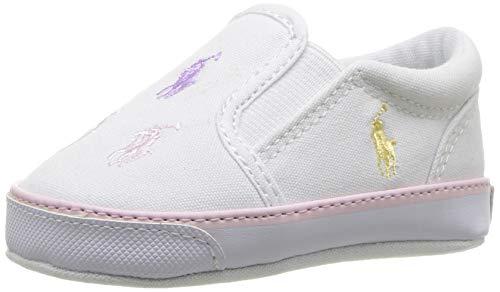 Designer Crib - Polo Ralph Lauren Kids Girls' Bal Harbour Repeat Crib Shoe, White, 3 M US Infant