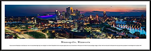 Nhl Picture Frame Horizontal (Minneapolis, Minnesota - Twilight Skyline - Blakeway Panoramas Skyline Posters with Standard Frame)