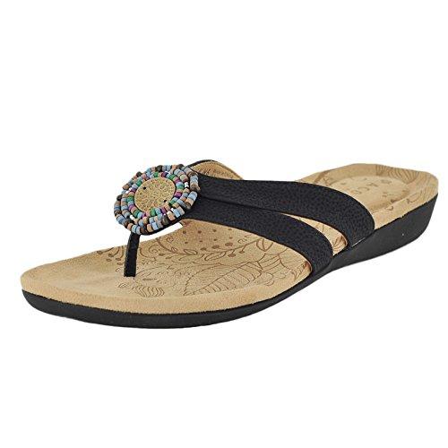 ACORN Women's Samoset Thong Sandal,Black Shell,10 M - Flops Flip Acorn