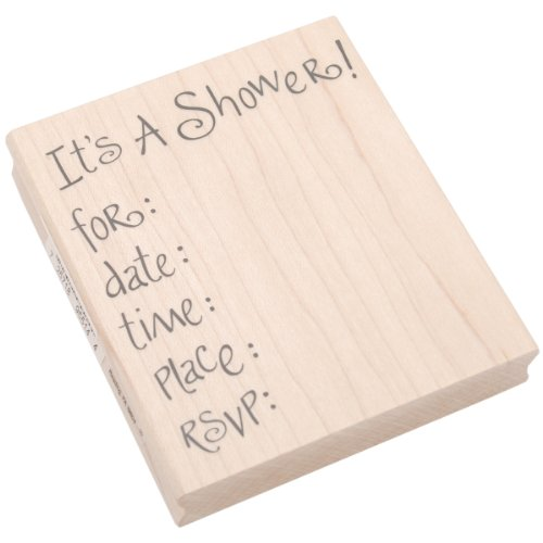 Inkadinkado Wood Stamp For Baby Shower Invitation Card Stamp, 4'' W x 3.5'' L