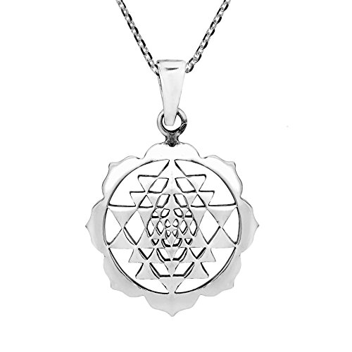 AeraVida Sri Yantra Chakra Om Geometry .925 Sterling Silver Pendant Necklace
