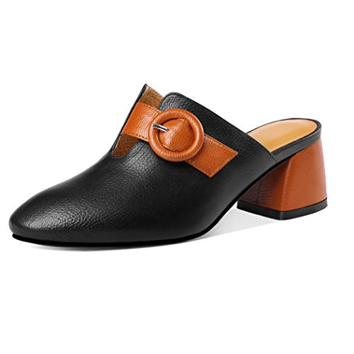 Tacon Hebilla Moda Sandalias Vestir Comodas Mujer Cuero Negro Annieshoe Verano De Elegant Chanclas pIE6xw8q8