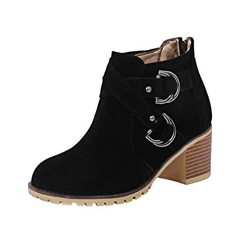 Latasa Kvinna Mode Faux Nubuck Chunky Klackar Boots Svart