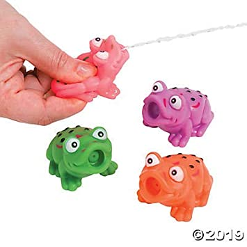 Set of 4 The Dreidel Company Passover Frog Squirts Vinyl Passover Toys