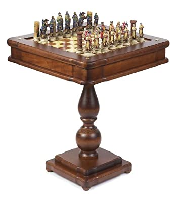 Hand Painted Crusade Chessmen & Verona Game Center Table From Italy