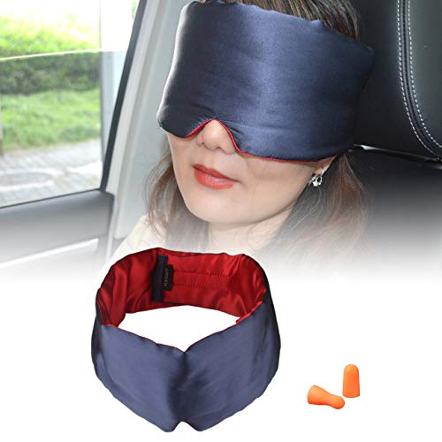 GYSSIEN 100% Silk Sleep Mask, Men and Women Sleep Eye Mask with Ear Plugs for Sleep, Napping and Travel (Navy+Red) by GYSSIEN
