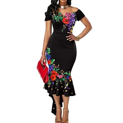 Connoworld Women's Dress Sexy Women Flower Embroidered Off Shoulder Asymmetrical Bodycon Mermaid Dress With Flower Print Black XL