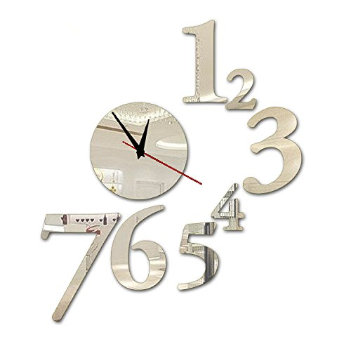 Alrens_DIY(TM)Silver 7 Numbers Total Art Mordern Luxury Design DIY Acrylic Silent Quartz Wall Clock Removable 3D Crystal Mirror Surface Effective Wall Clock Wall Sticker Home Decor Art Living Room Bedroom Office Decoration
