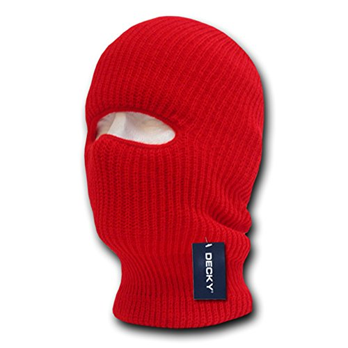 DECKY Face Mask 1 Hole Beanie, Red ()