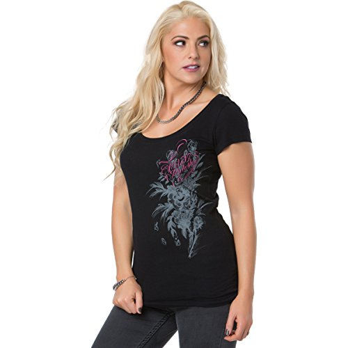 Metal Mulisha Juniors Dani G Devoted Fitted Scoop Neck Graphic Tee, Black, X-Small ()