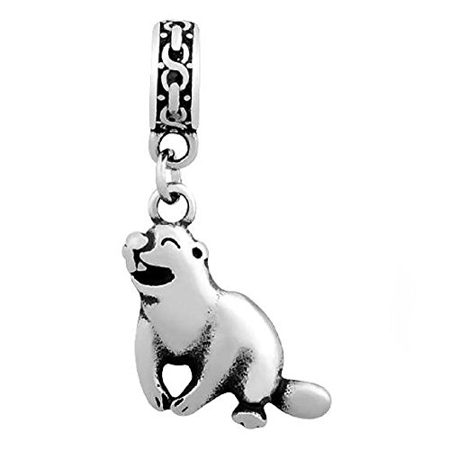Beaver Jewelry Charm - Stainless Steel Dangling