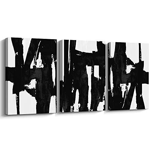 Pinetree Art 3 Panels Black and White Abstract Canvas Wall Art Prints Painting for Living Room (Small)