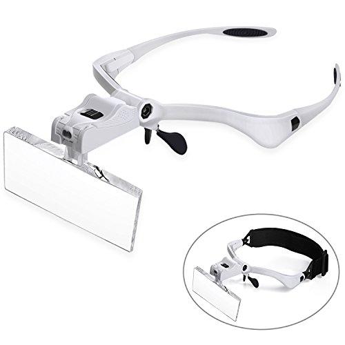 Price comparison product image vorey Head Mount Magnifier with 2 Led Professional Jeweler's Loupe Light Bracket Watch Repair Lash Extension Glasses,  5 Replaceable Interchangeable Lenses1.0X, 1.5X, 2.0X, 2.5X