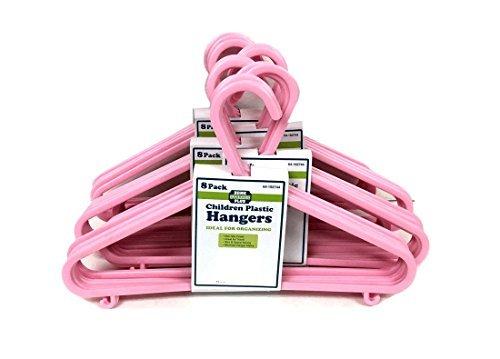 "THE UM24 40 Pack Plastic Children Hanger Assorted Pink Color - 11"" Wide Baby Girl Kids Hangers"