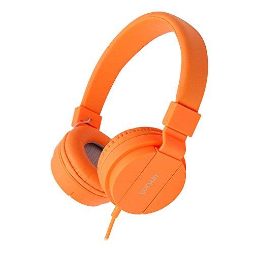 Orange Earphones Headphones (ONTA gorsun Foldable On Ear Audio Adjustable Lightweight Headphone for chlidren Cellphones Smartphones Iphone Laptop Computer Mp3/4 Earphones (orange))