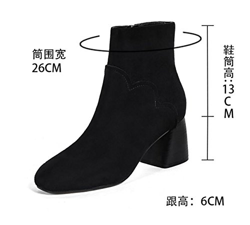 Thick Winter Zipper And Heeled Short Korean Side Boots New Boot Square With Black High KHSKX Boots Shoes Xf5cq5