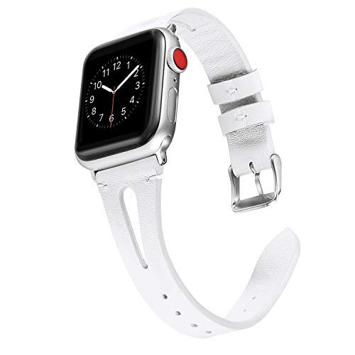 (Secbolt Leather Bands Compatible with Apple Watch, 38mm 40mm Series 4 3 2 1, Slim Strap with Breathable Hole Replacement Wristband for Iwatch Nike+ Edition, White)