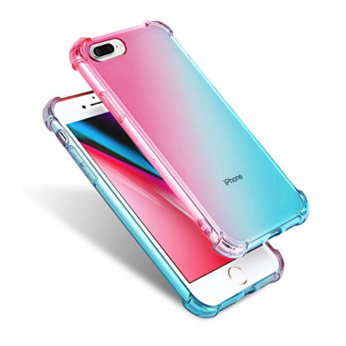 Airror Phone Case Compatible with iPhone 8 Plus/7 Plus, Clear Multi-Color Gradients Slim Case, Impact Resistant Protective Flexible Soft TPU Cover [ Support Wireless Charging ]