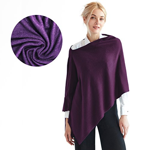 (Faux Cashmere Acrylic 3-in-1 Poncho Topper Wrap FREE Linen Pouch One Size)