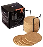"Natural Cork Coasters 18 pc Set With Metal Holder Storage Caddy, Round Edge 4"", 1/4"" Thick, Absorbent, Heat-Resistant, Eco-Friendly, Reusable Saucers for Cold and Hot Drinks, Wine Glasses, Mugs & Cups"