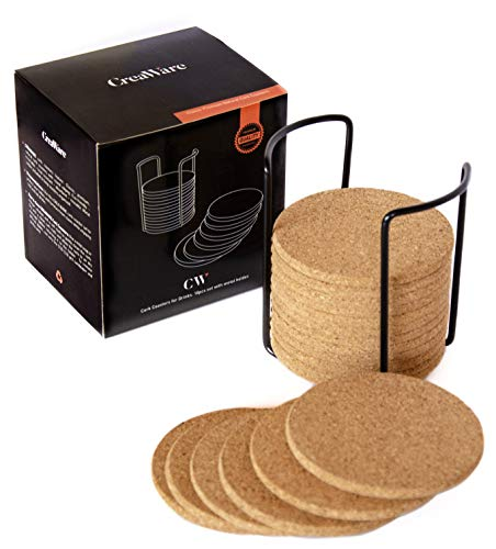 """Natural Cork Coasters 18 pc Set With Metal Holder Storage Caddy, Round Edge 4"""", 1/4"""" Thick, Absorbent, Heat-Resistant, Eco-Friendly, Reusable Saucers for Cold and Hot Drinks, Wine Glasses, Mugs & Cups"""