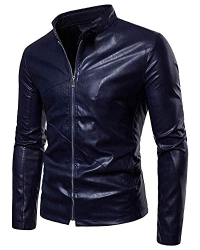 Slim Zipper Mens Couleur Veste Unie large Causal Oudan Revers Manteau Plus Biker X coloré Taille Navy qCaxwtxX