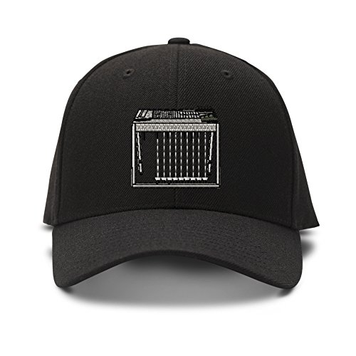 Pedal Steel Guitar Embroidered Unisex Adult Hook & Loop Acrylic Adjustable Structured Baseball Hat Cap - Black, One Size -