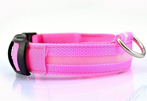 LED Dog Safety Collar Flashing Light up, - Keep Your Friend Safe in Night Walks (Large (17.7~20.5 inch), Pink)