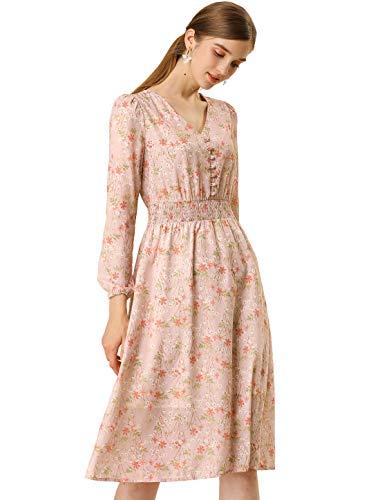 Allegra K Women's Floral Print Flowy Sundress V-Neck Midi Dress L Pink
