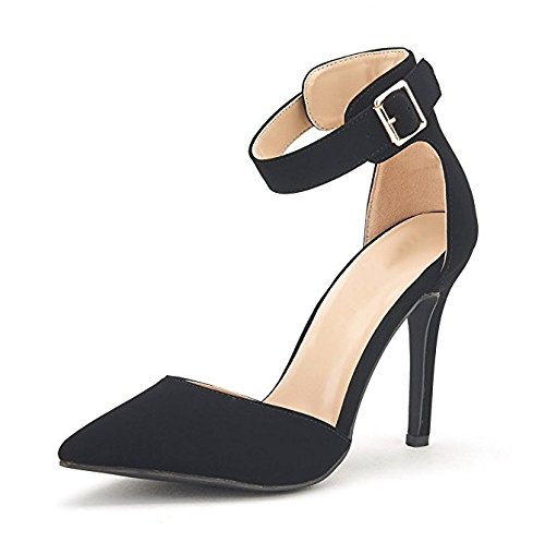 Women's Ankle Strap Stiletto Pumps Pointed Toe Dress D'Orsay High Heel Summer Wedding Nubuck Shoes Black 8 (Ankle Strap Women)