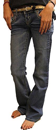 85636da6 low-cost Rue21 Twentyone Black Slim Boot Cut Bling Jeans with Belt Sz. 0