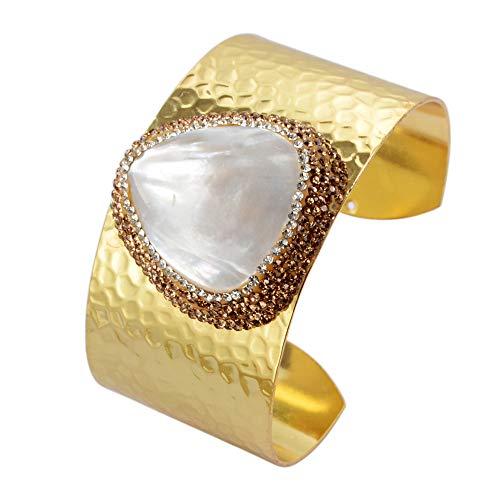 (ZENGORI 1 Pcs Drop Natural Pearl Gold Plated Cuff Bangle Bracelet Zircon Paved ZBG0152)